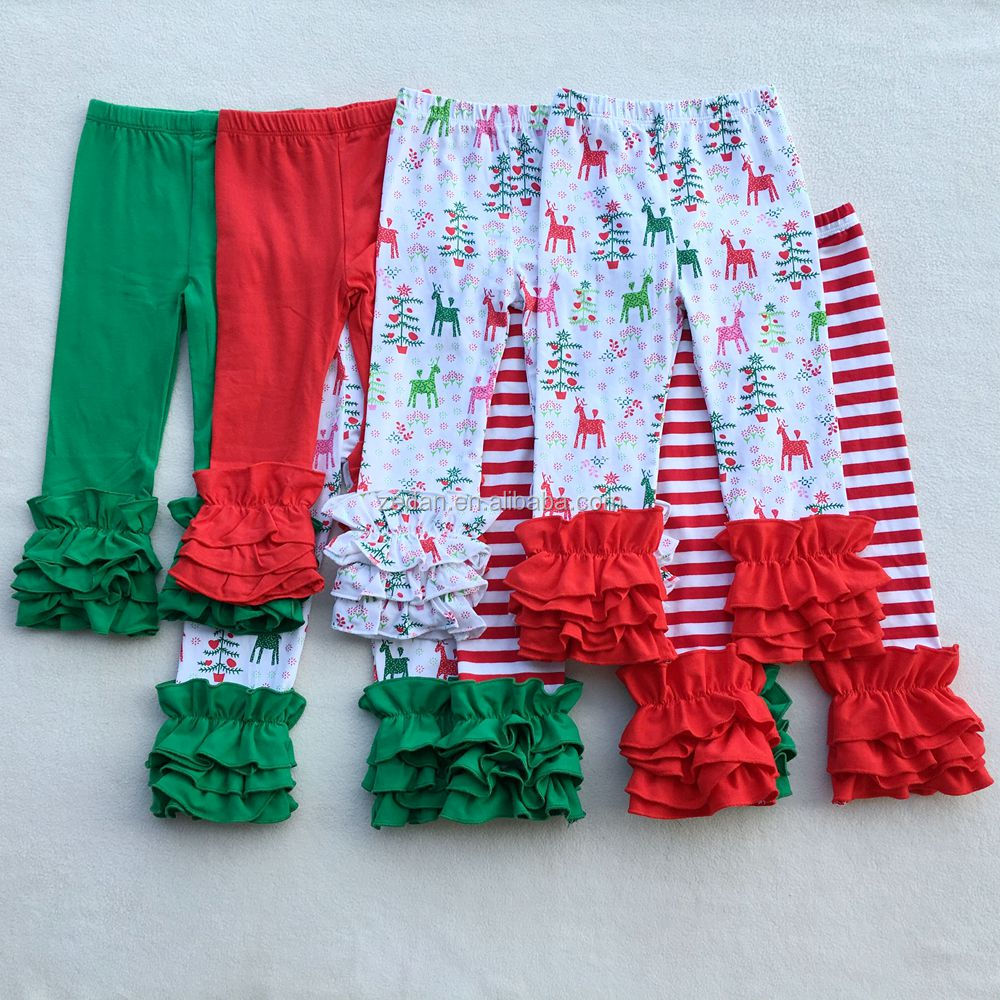 Red Green Deer Christmas Design girls icing ruffle pants leggings