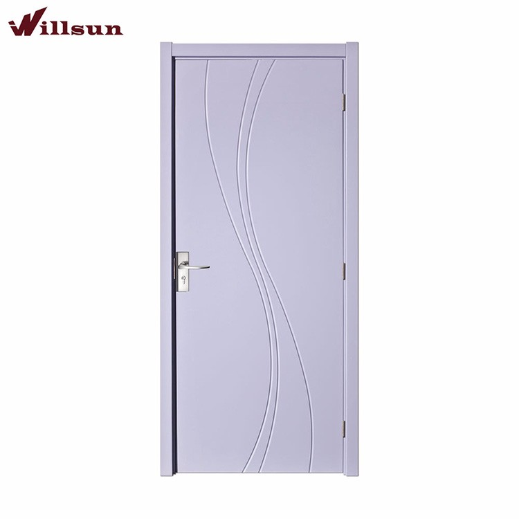 Stylish eco paint doors PVC film MDF wooden flush doors carving exaggerated curve design for aparment house