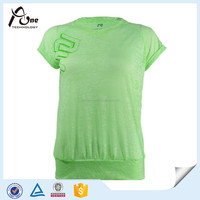 Burn Out Fabric Women Green Leisure T-shirt