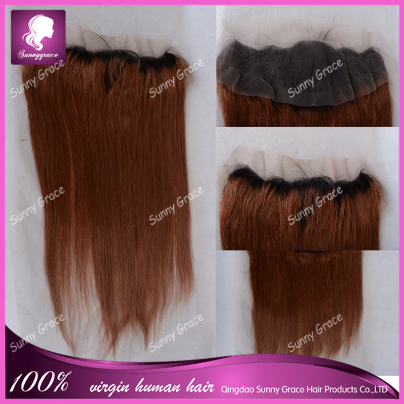 100% human hair ombre 1b <strong>black</strong>/brown silky straight wave 13*4 lace frontal