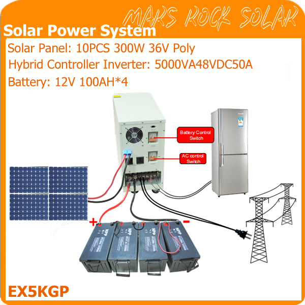 5KVAOff Grid Solar Power System for Residential Use Contains 10PCS 300W Solar Panel 1 Set 5KVA Hybrid Controller Inverter