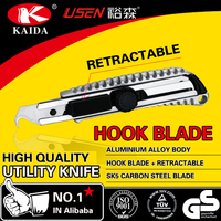 Hook blade Auto Retractable Safety Aluminium Alloy with screw lock utility knife