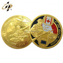 Die casting gold medallion custom enamel Canada army challenge coin