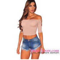 Pink Lace up Off Shoulder Sleeves hot sex photo image girls crop top