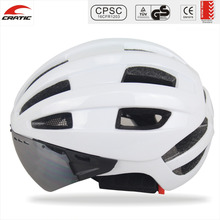 Custom unique white racing bike cycling helmet with removable sun glass
