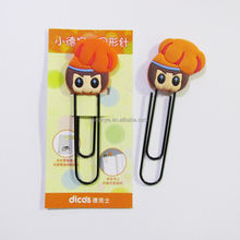 factory made lovely 3d silicone bookmark with metal paper clips , rubber bookmark cilp
