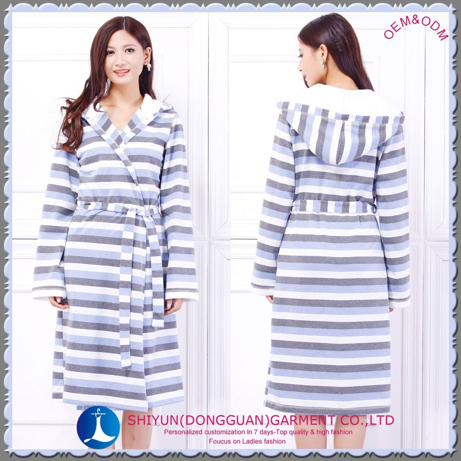 2015 the newest women cotton stripe bathrobes gown with hood and long sleeve FREE SAMPLE