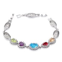 Fashion jewelry cooper plating white gold colorful cz rhinestone tennis charm bracelet for women