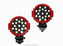 "Red 51w Round Offroad 7"" Led Light, Markets Brightest Spot Worklight, Off Road Fog Driving Roof Bar Bumper light 4x4 Jeep UTV"