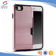 100% in Stock brushed pc tpu hybrid card slot protector Case For iPhone 6S Plus