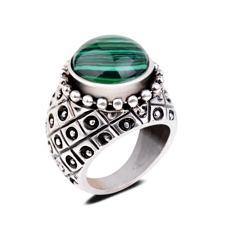 Stylish Stripped Texture Stones Gem Ring Green Malachite Chunky Statement Heavy Rings For Men