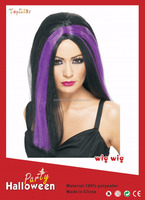 Halloween supplies party women full lace front wig dyed with purple color