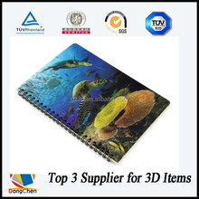 Beautiful fish school item 3d plastic cover spiral notebook a5
