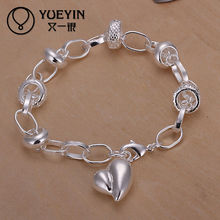 Wholesale handmade delicate heart bracelet with ring attached