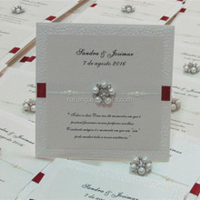 Hot sale plain handmade pebble paper wedding invitation cards with pearl decoration