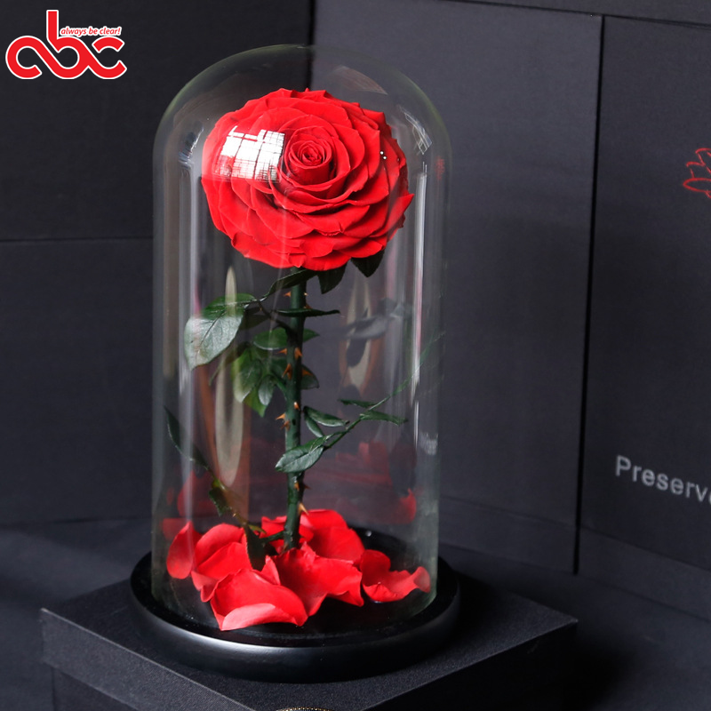D9-10cm Preserved Rose In <strong>D15</strong> x H30cm Glass Dome In Gift Box For Valentine's Day