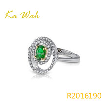 Gala Classic Emerald Gemstone And Natural Diamond In 18K White Gold