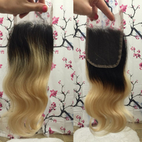"Cheap ombre color 1b/613 body wave two tone color ombre lace closure 4x4"" free shipping"