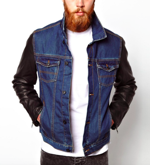 High quality denim jacket with leather sleeve Custom mens jeans jacket