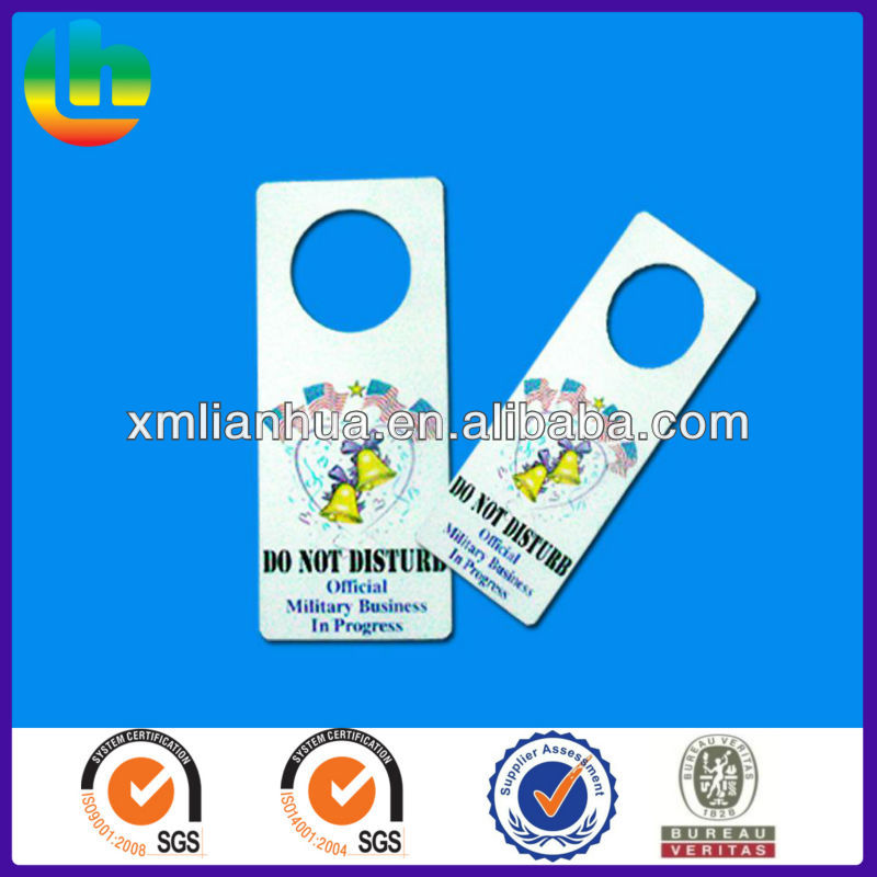 Custom Plastic PP/PVC Hotel Door Hangers for warning sign