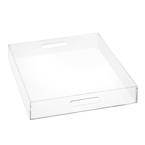 Square Clear Acrylic Tray Lucite Serving Tray with Flyer Insert and Handles