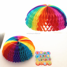 Birthday party decoration Colorful Parachute Honeycomb Paper with Card