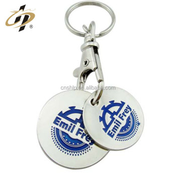 Custom enamel logo metal trolley token key ring for shopping cart