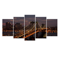 5 Panel Modern Canvas Wall Art Bridge Picture Large Canvas Prints Cityscape Canvas Wall Art for Living Room Office Decor Framed