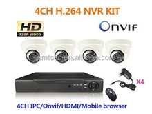 4pcs Dome Camera Mobile phone view, Support web client HDMI video output 720P/960P/1080P 4Ch H.264 NVR KIT(NVR-KIT304)
