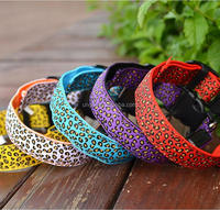Leopard LED Nylon Pet Dog collar Night Safety Flashing Glow For Dogs Pet Supplies