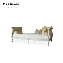 White fabric upholstered french antique wood bed end benches
