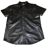 Italian men genuine leather shirt short sleeves color black unlined
