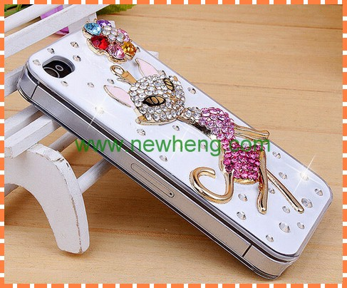 New design bling cat hard back cover case for iphone5