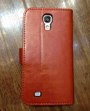 New Arrival . Flip Genuine Leather Case for Samsung Galaxy S4 i9500 with Stand + Card Holder