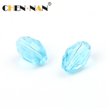 2017 pujiang factory Wholesale Dubai Market popular New Design light blue Cheap faceted oval Crystal Bali Beads