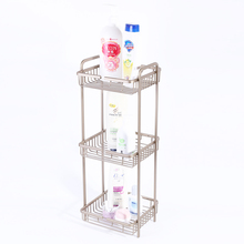 ISO 9001 Certificated Anti-Rust 3 Layer Metal Alloy Adhesive Bathroom Corner Shelf