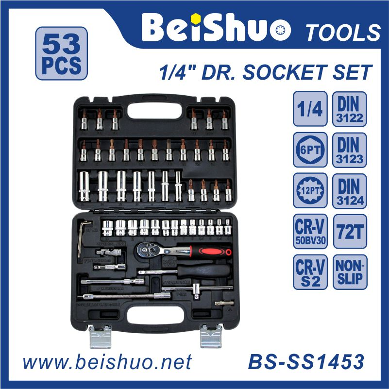 53pcs 1/4'' Drive Automotive Tools Auto Tool Set High Quality Hand Tools