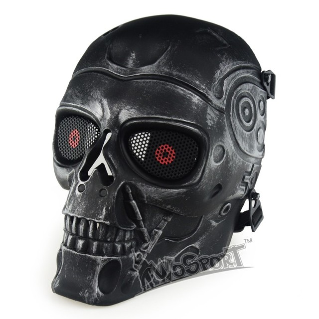 WoSporT Military Tactical Full Face Skull Mask for Hunting Shooting Airsoft Paintball Halloween Party Masquerade CS