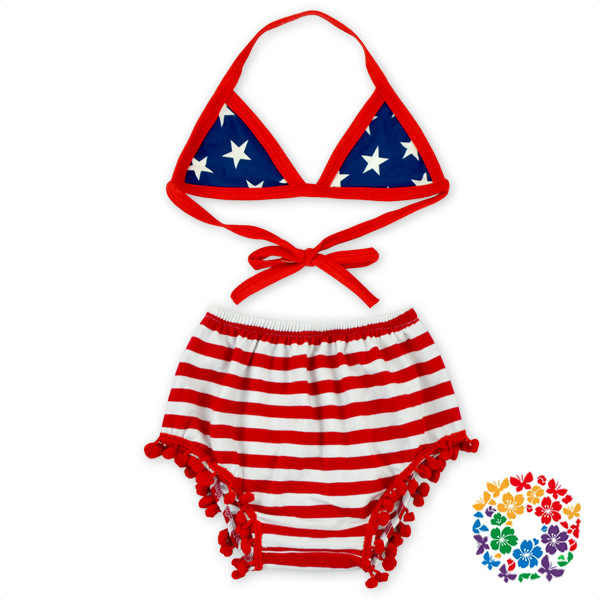 4th Of July Baby Girls Underwear Bra New Design Kids Bra And Pom Pom Bloomers Swimwear Set Children Bikini Swimwear 2016