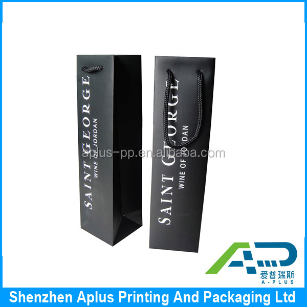 High end custom logo printing wine gift bag , high quality wine paper bag for gift stamping