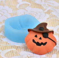 F1240 customized Halloween Pirate pumpkin shape FDA silicone craft/cake fondant decortion mold