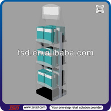 TSD-A947 Custom store double side 3 tier floor acrylic book display stand/shop display book racks/free standing book stand