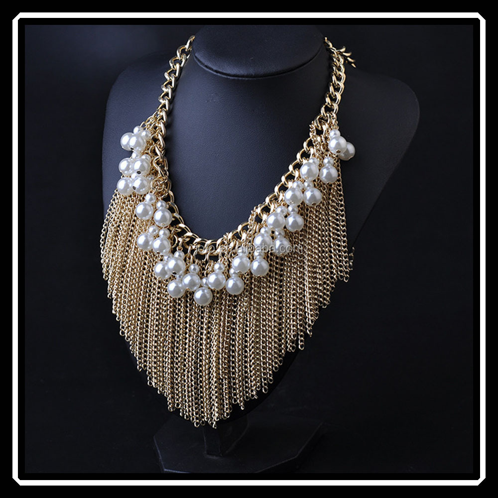 2015 European Fashion Punk Female Noble Gunblack Gold Silver Plated Tassel Necklace With Pearls For Women