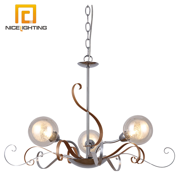 NICE lighting Iron aluminium glass bubble chandelier / chrome gold color glass pendant light hanging