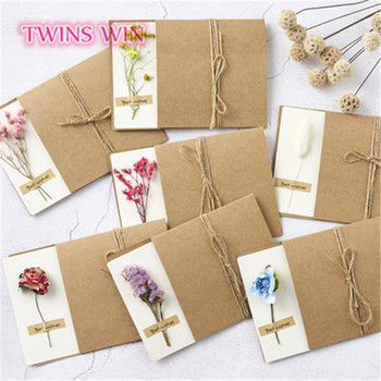 2019 high quality nice design dry flower invitation handmade paper greeting card 014