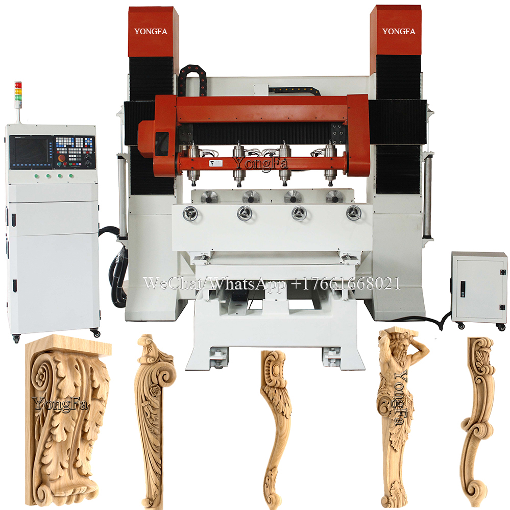 4 heads 3d multi rotary 5 axis cnc woodworking machine