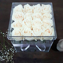 Square Tulip Box Transparent Acrylic Rose Flower Sale Box With Signature Lid