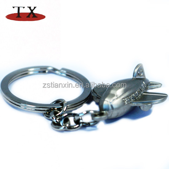 Factory supply 3D zinc alloy airplane key ring chain