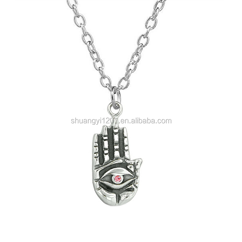 Antique silver feeling buddha eye hamsa hand magic powers crystal pendant necklace