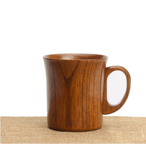 Simple Natural Eco-friendly Wood Wooden Water Beer Cup Mug Tea/Milk/Breakfast Coffee Mug Teacup